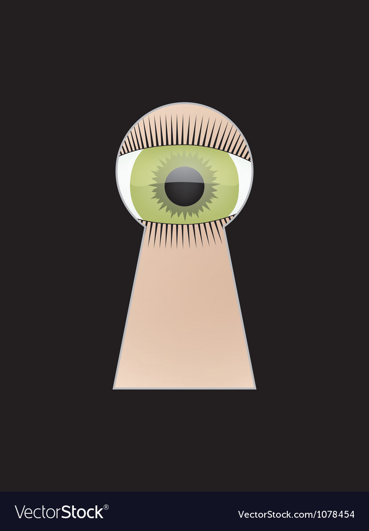 Eye peep at key hole vector | Price: 1 Credit (USD $1)