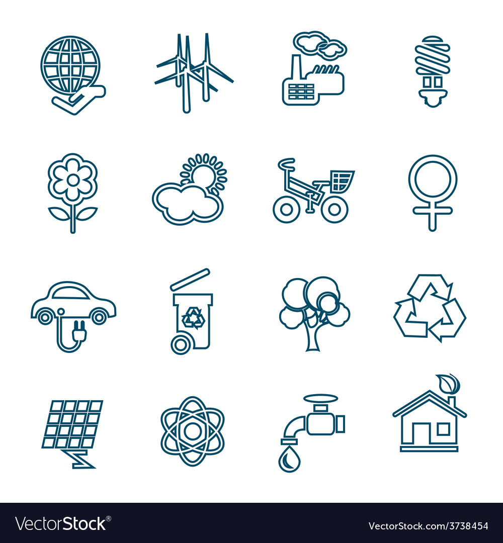 Flat line ecology icons set vector | Price: 1 Credit (USD $1)