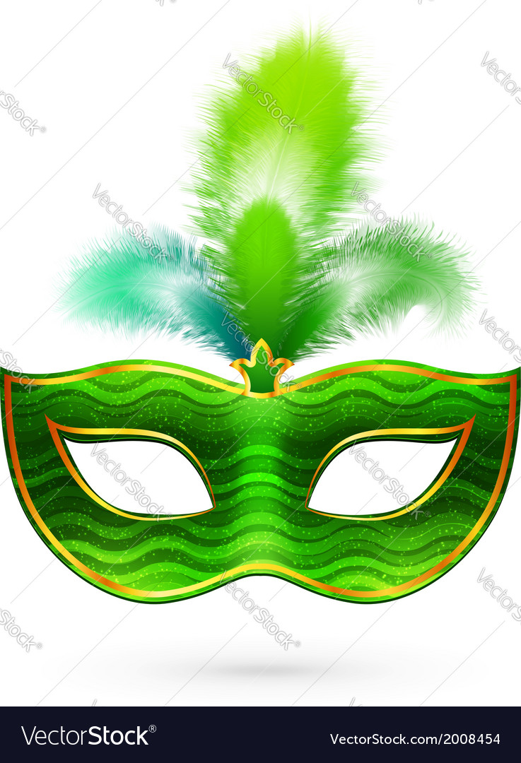 Green carnival mask with feathers vector | Price: 1 Credit (USD $1)