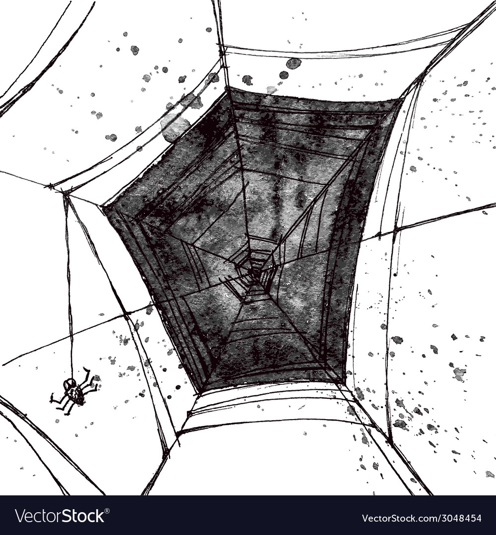 Hand pictured grunge spiders web vector | Price: 1 Credit (USD $1)