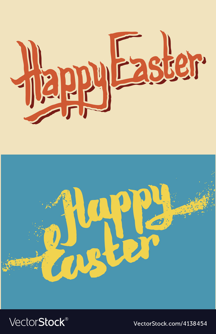 Happy easter hand drawn lettering vector | Price: 1 Credit (USD $1)