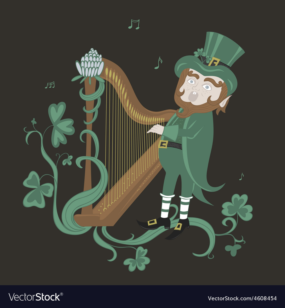 Leprechaun playing the harp and singing vector | Price: 1 Credit (USD $1)