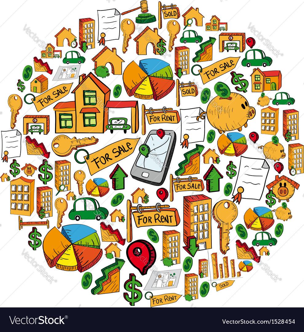 Real estate symbols circle formation vector | Price: 1 Credit (USD $1)