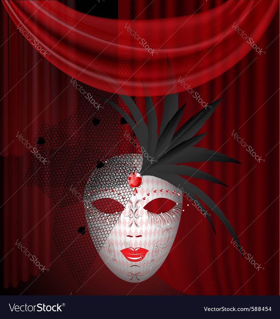 Red drape and carnival mask vector | Price: 3 Credit (USD $3)