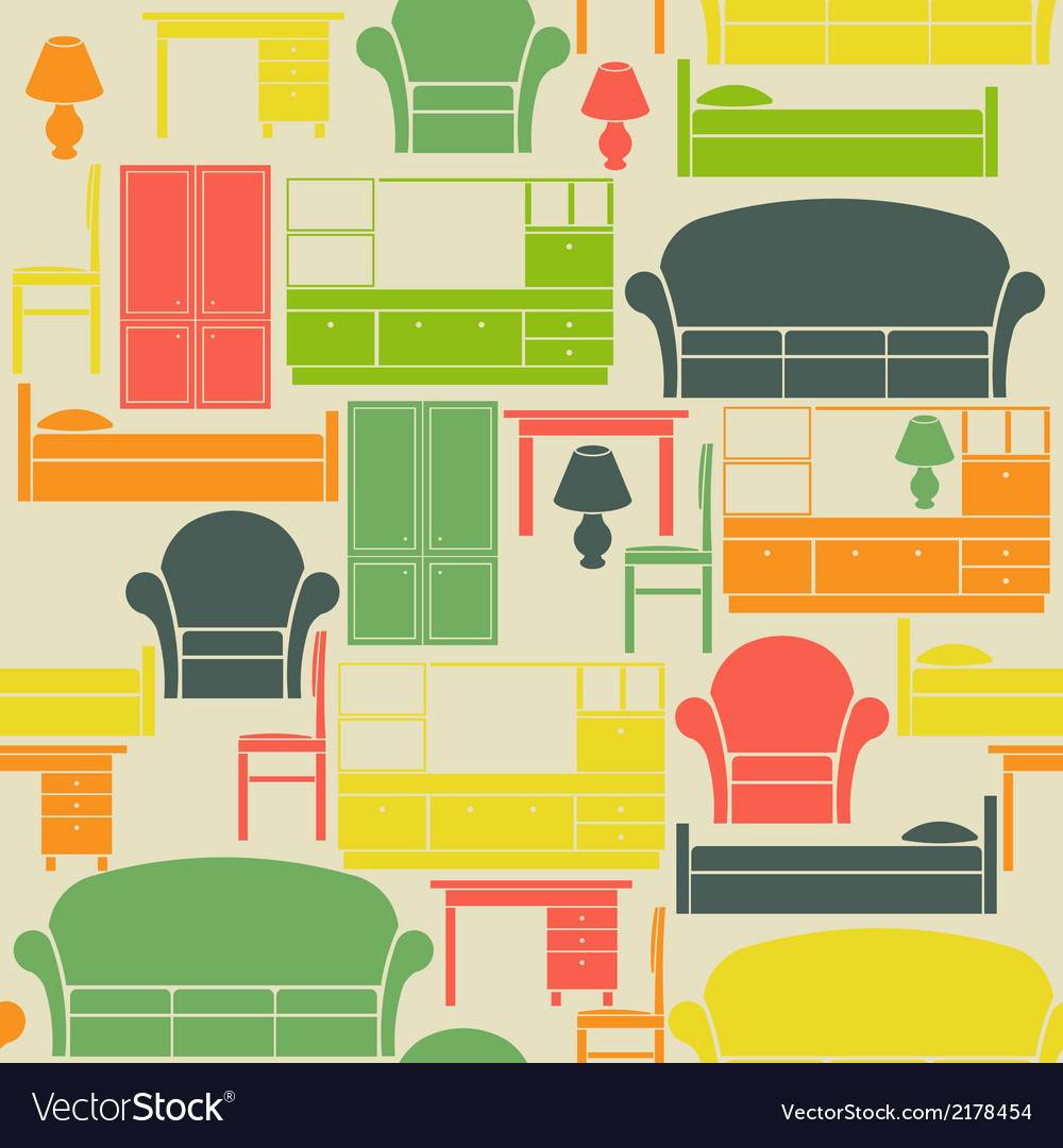 Seamless pattern with furniture vector | Price: 1 Credit (USD $1)