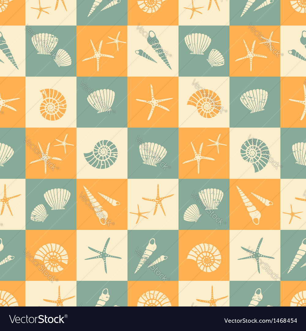 Seamless summer pattern with seashells vector | Price: 1 Credit (USD $1)