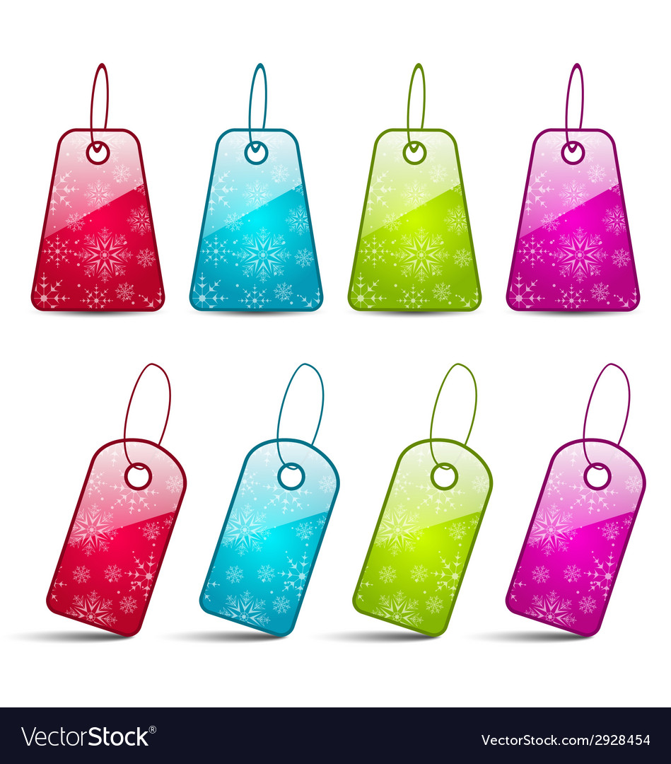 Set multicolored tags isolated on white background vector | Price: 1 Credit (USD $1)
