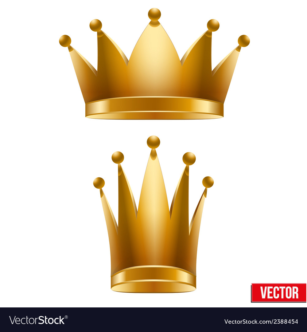 Set of gold classic royal crowns king and queen vector | Price: 1 Credit (USD $1)