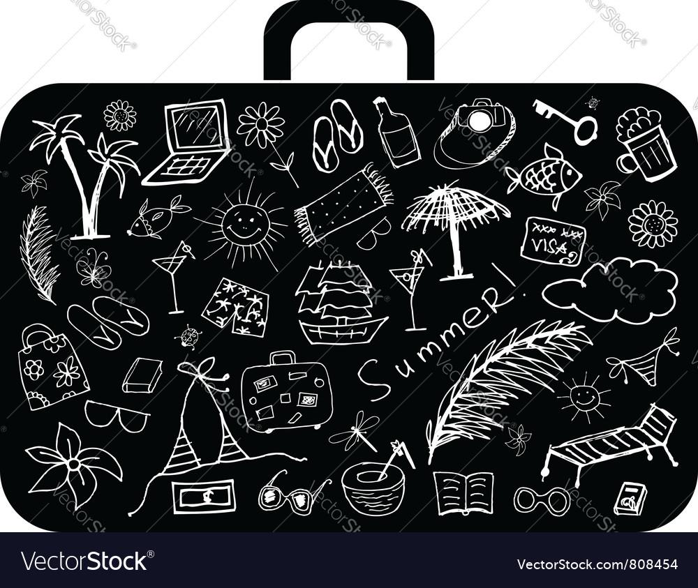 Summer holiday suitcase vector | Price: 1 Credit (USD $1)
