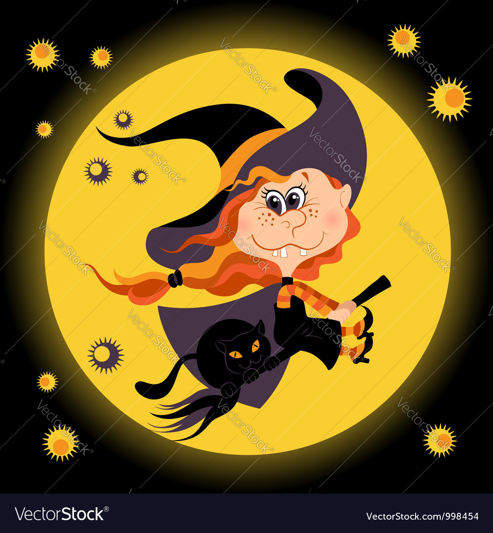 Witch halloween girl and black cat vector | Price: 1 Credit (USD $1)