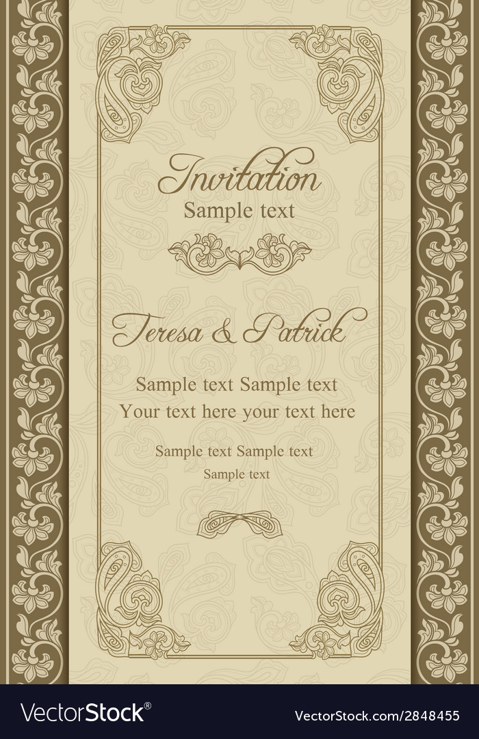 Baroque wedding invitation beige and blue vector | Price: 1 Credit (USD $1)