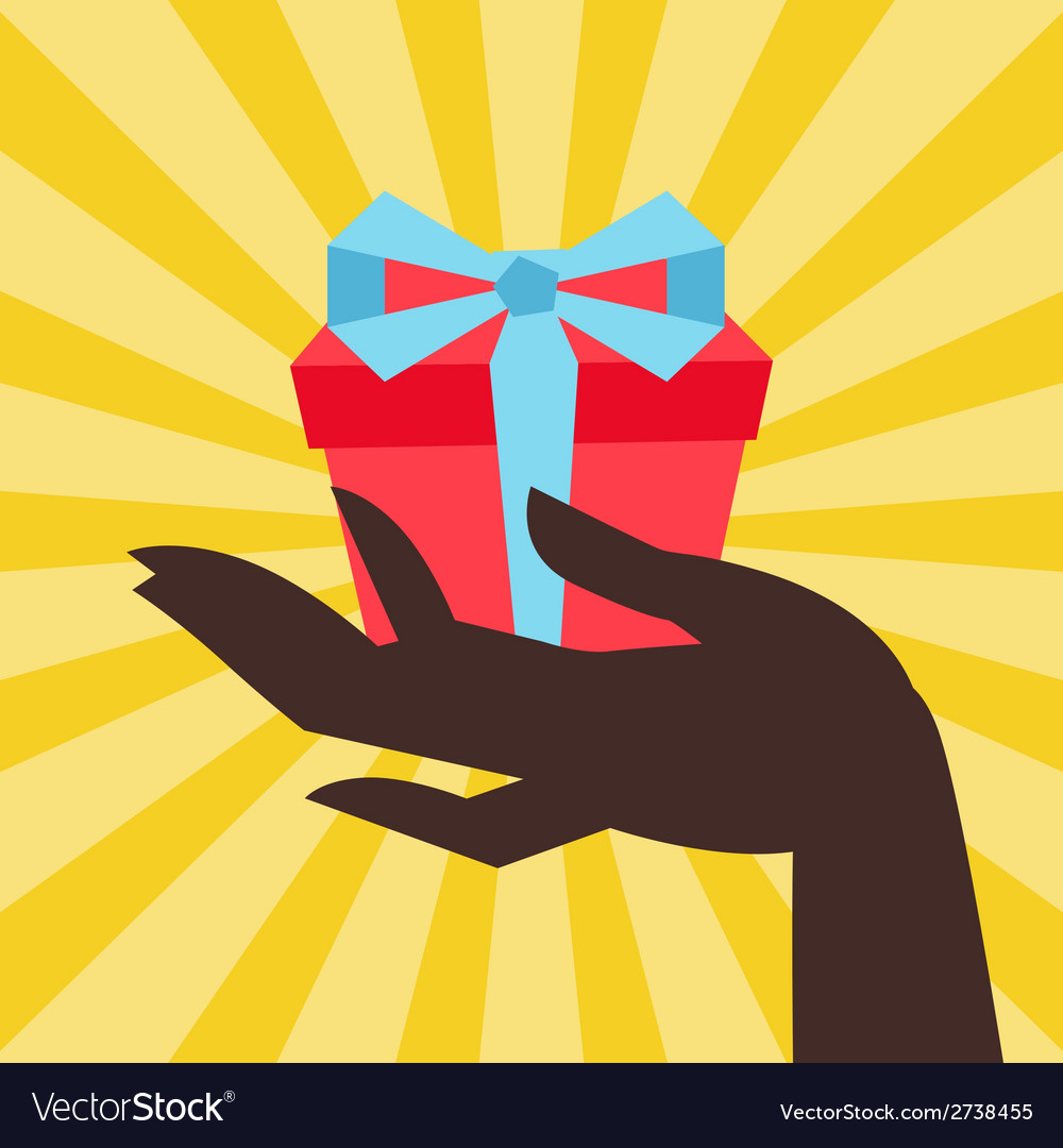 Card female hand holding a gift box vector | Price: 1 Credit (USD $1)