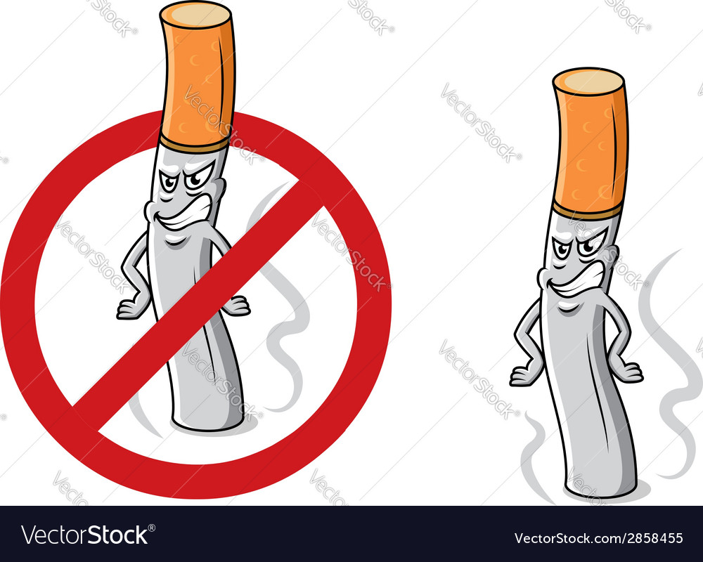 Cartoon angry cigarette with stop sign vector | Price: 1 Credit (USD $1)