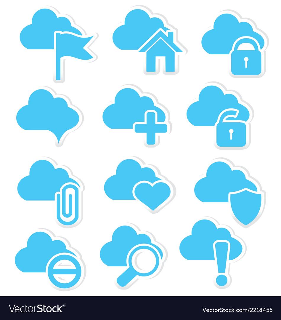 Cloud icon set web vector   Price: 1 Credit (USD $1)