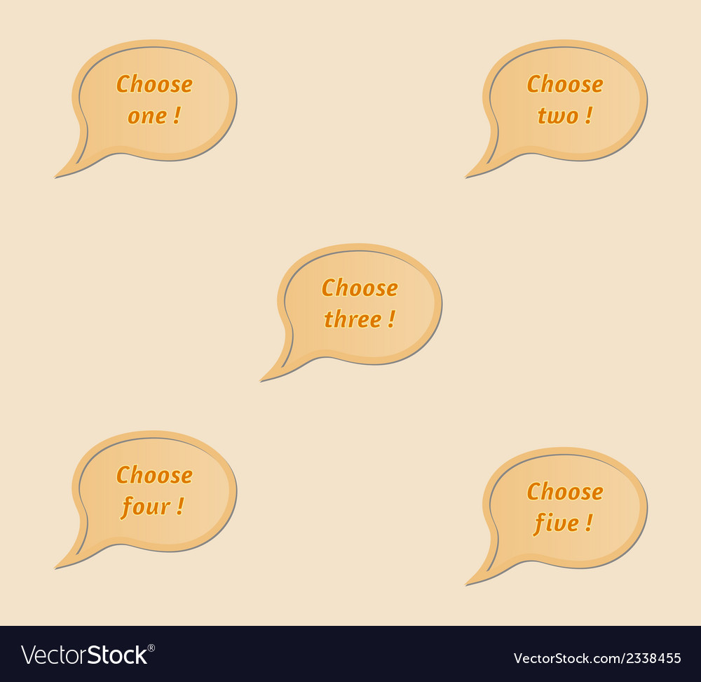 Five speak bubbles - choose one two three four vector | Price: 1 Credit (USD $1)