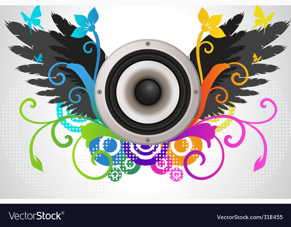 Floral audio speaker vector | Price: 3 Credit (USD $3)