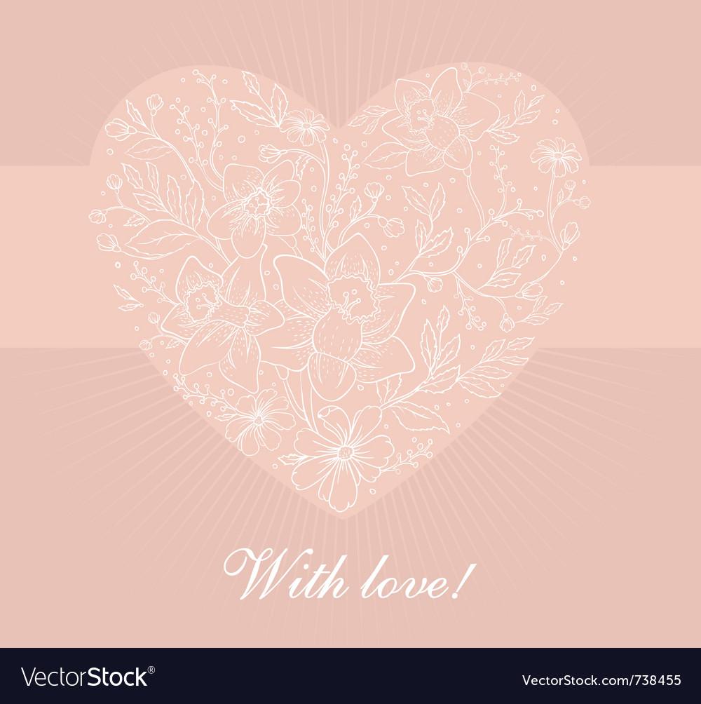 Flowers heart vector | Price: 1 Credit (USD $1)