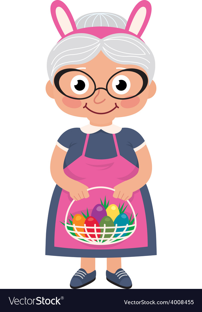 Grandmother holding a basket with easter eggs vector | Price: 1 Credit (USD $1)
