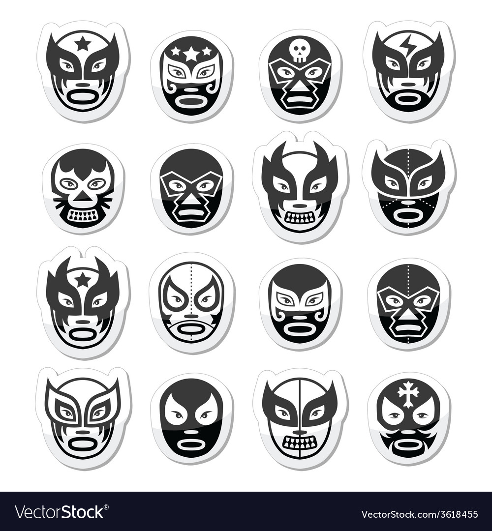 Lucha libre luchador mexican wrestling black mask vector | Price: 1 Credit (USD $1)