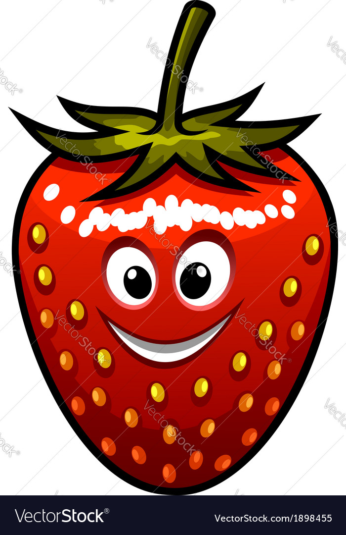Smiling strawberry with a green stalk vector | Price: 1 Credit (USD $1)