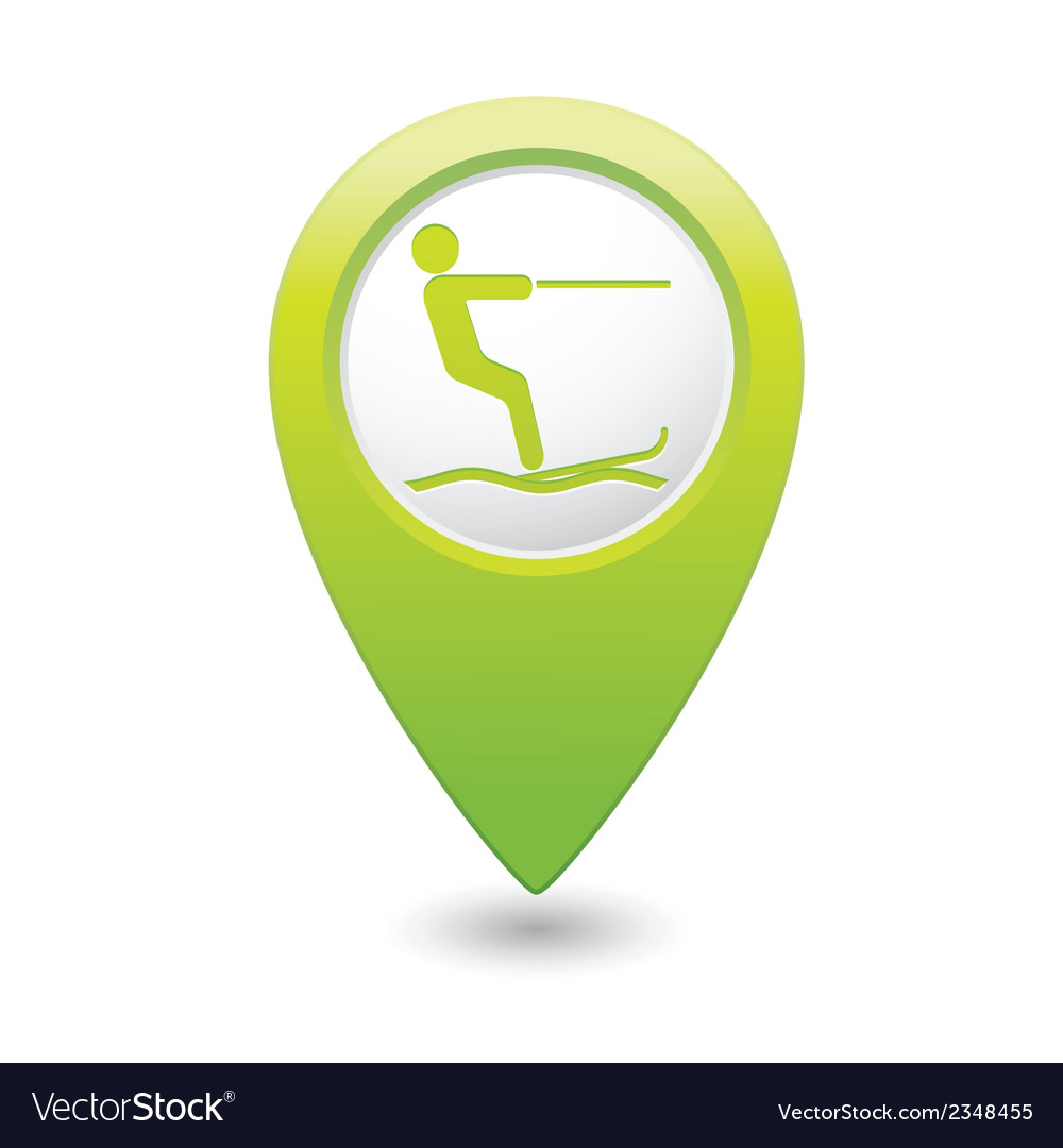 Waterskiing symbol green pointer vector | Price: 1 Credit (USD $1)