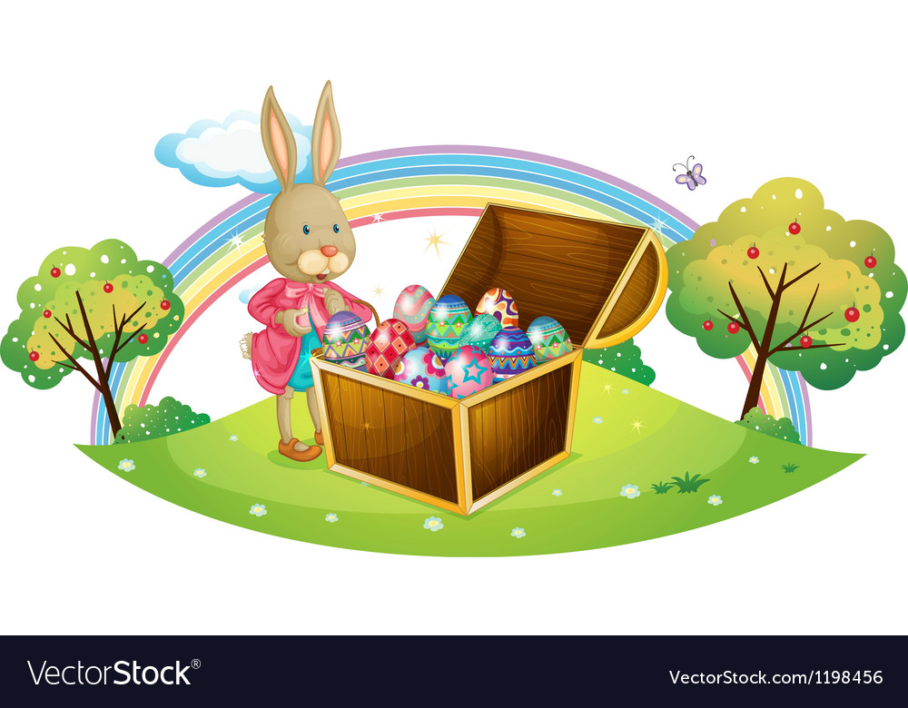 A bunny with many coloful eggs vector | Price: 1 Credit (USD $1)