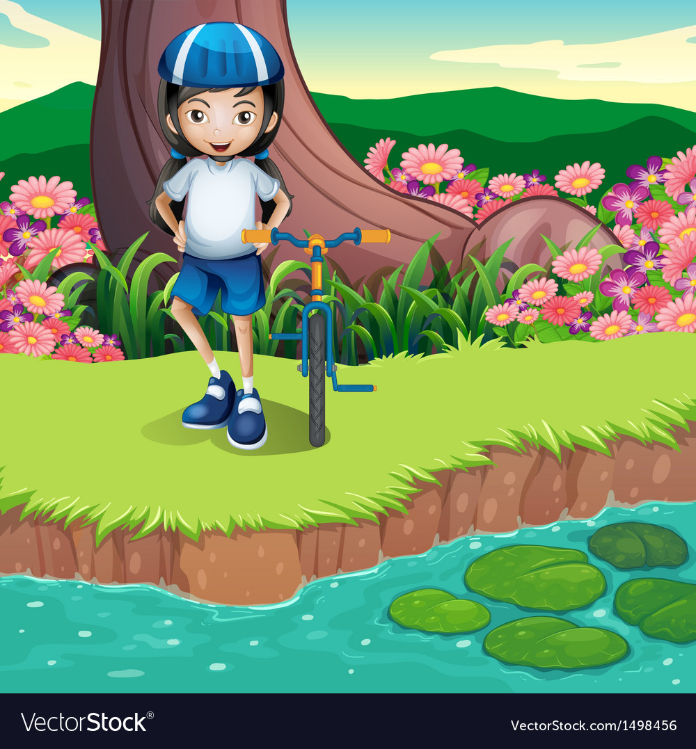A girl and her bicycle at the riverbank vector | Price: 1 Credit (USD $1)