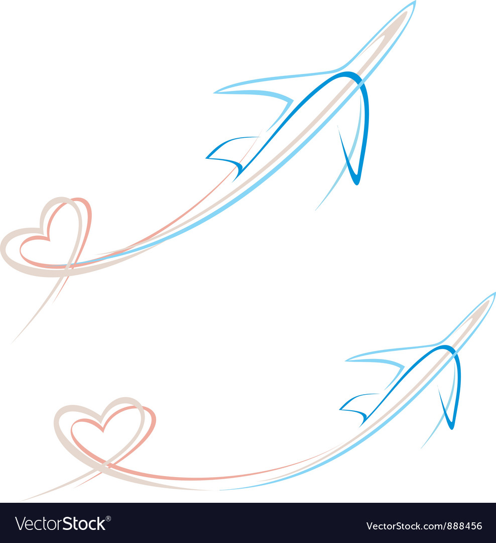 Airplane with heart vector