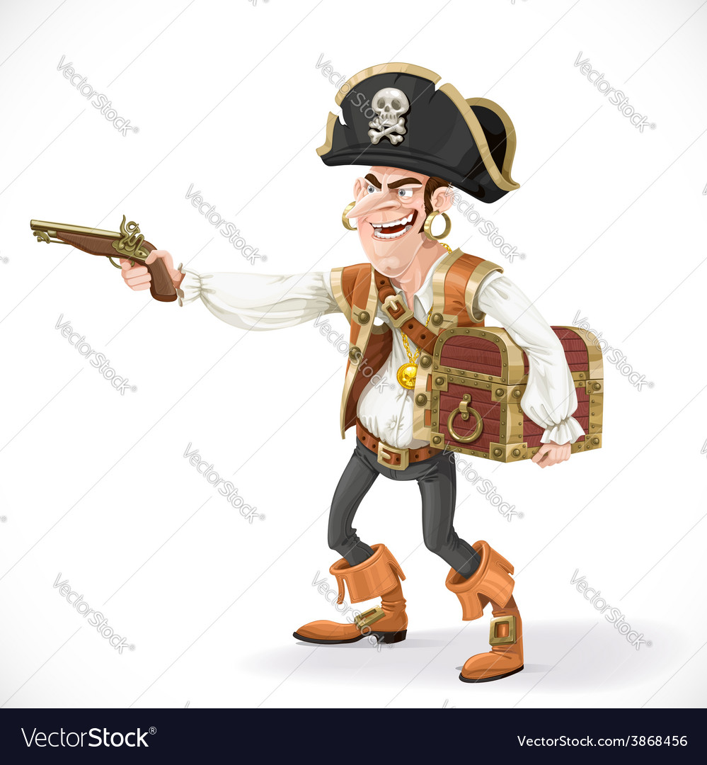 Cute pirate take aim a pistol and cuddle chest vector | Price: 3 Credit (USD $3)