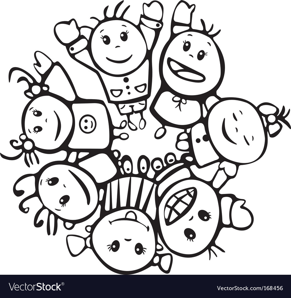 Happy children of different races vector | Price: 1 Credit (USD $1)