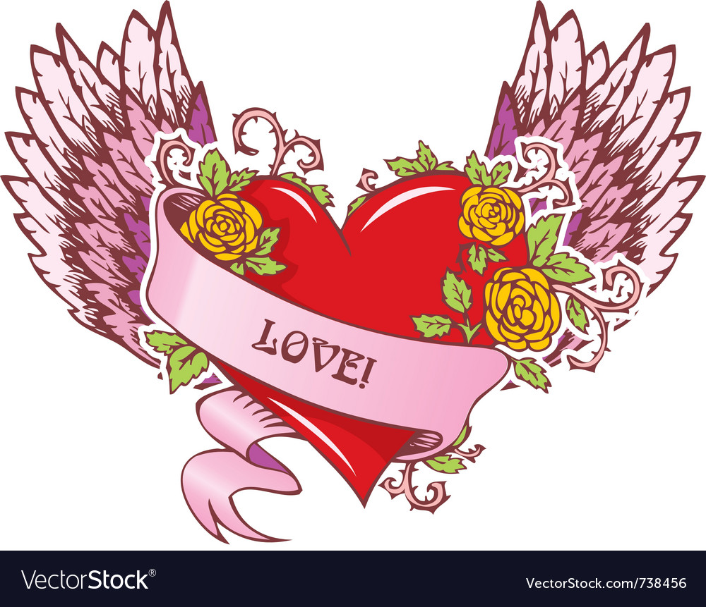 Heart with wings vector | Price: 3 Credit (USD $3)