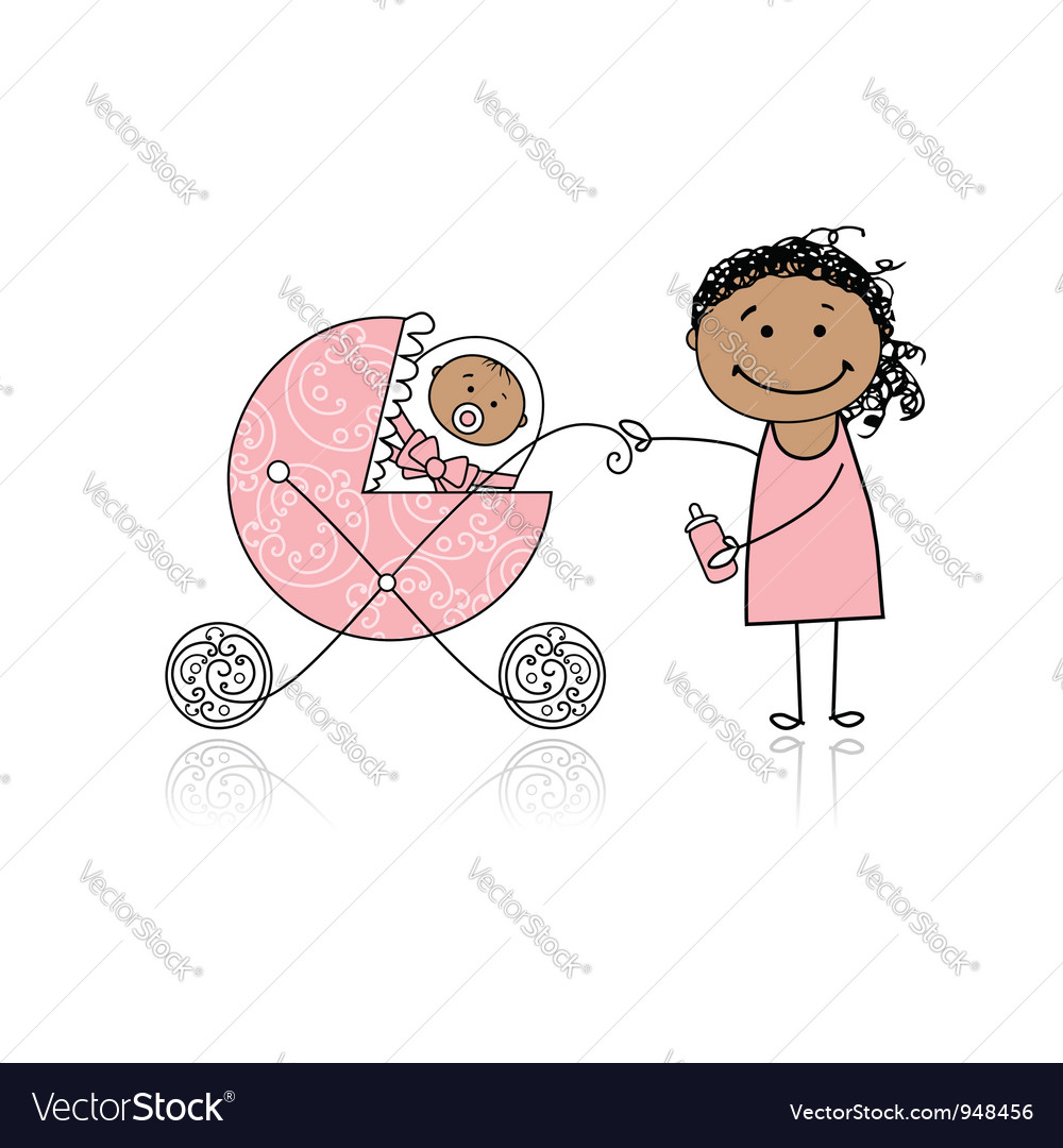 Mother with baby in buggy walking vector | Price: 1 Credit (USD $1)
