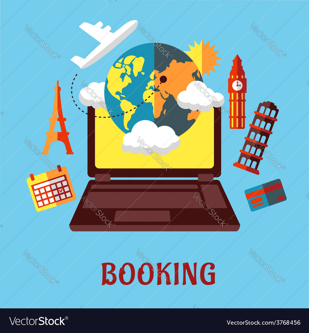 Online travel and booking flat concept vector | Price: 1 Credit (USD $1)