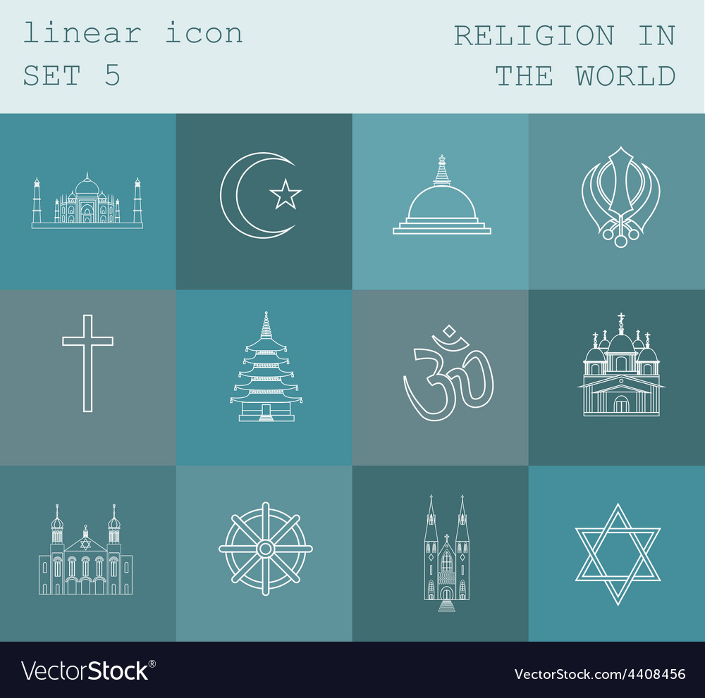 Outline icon set religion in the world flat linear vector   Price: 1 Credit (USD $1)