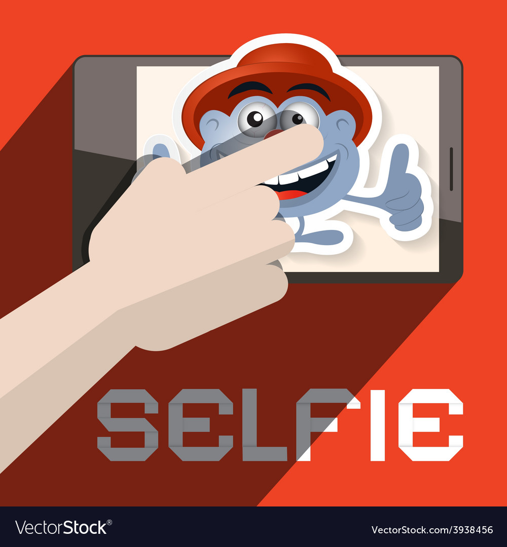 Selfie with hand and avatar vector | Price: 1 Credit (USD $1)
