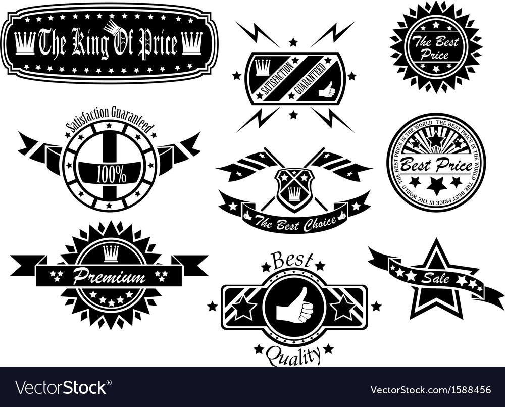 Set of vintage label collection 4 vector | Price: 1 Credit (USD $1)