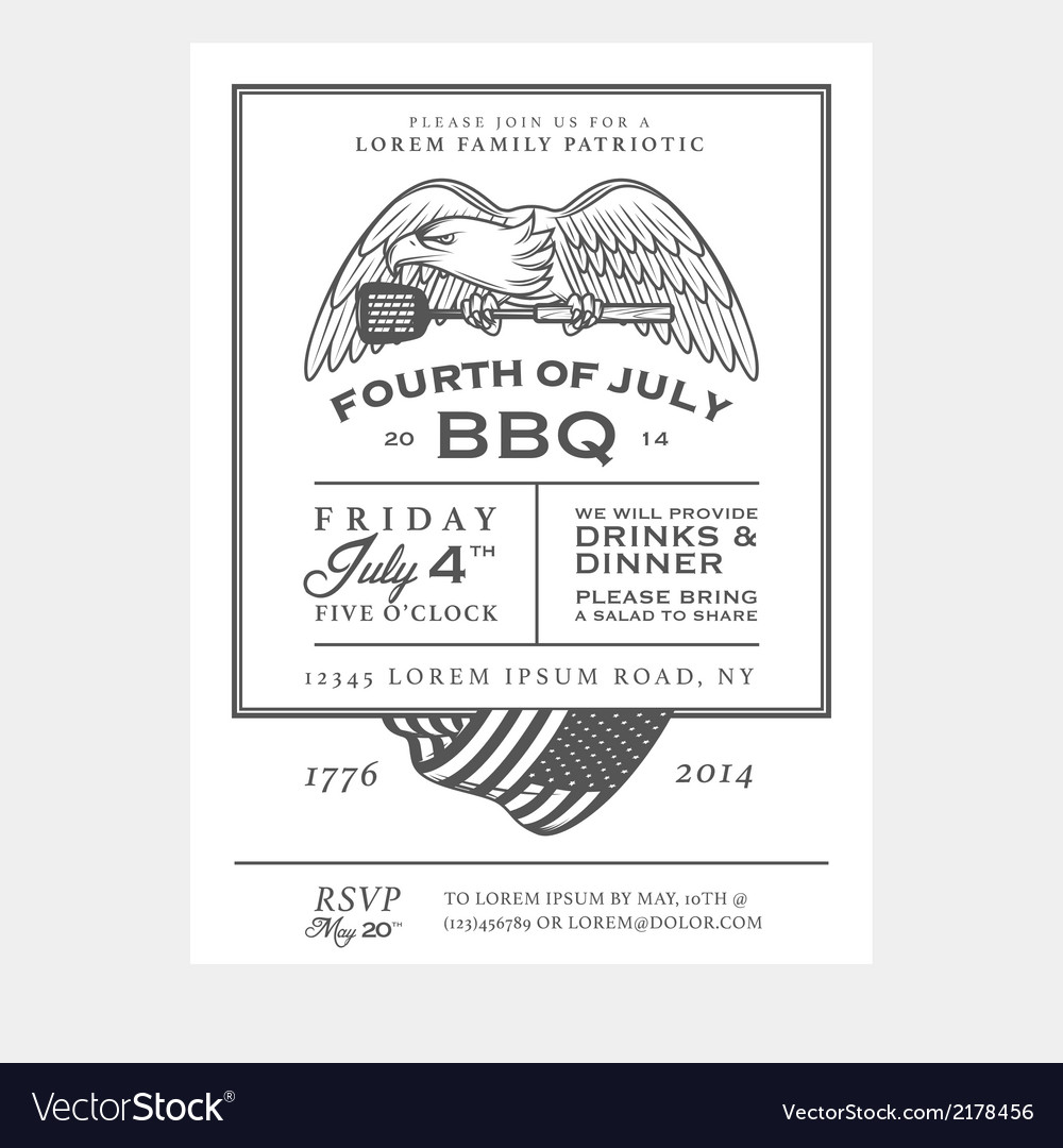 Vintage independence day barbecue invitation vector   Price: 1 Credit (USD $1)