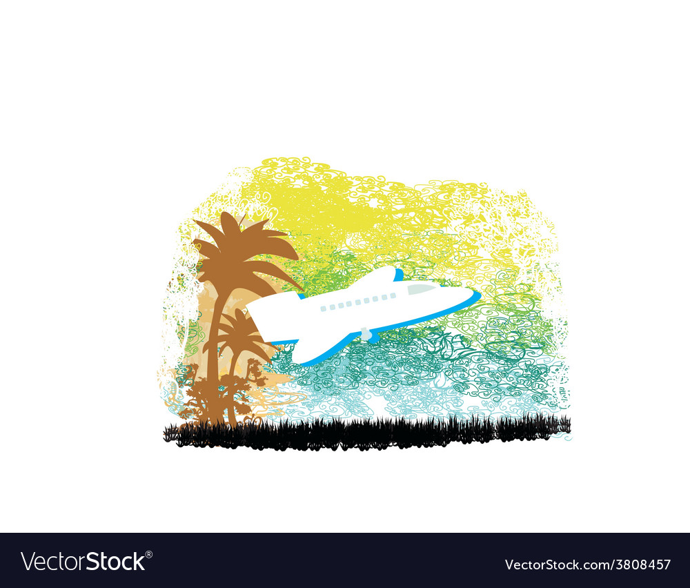 Airplane with palm of tropics vector | Price: 1 Credit (USD $1)