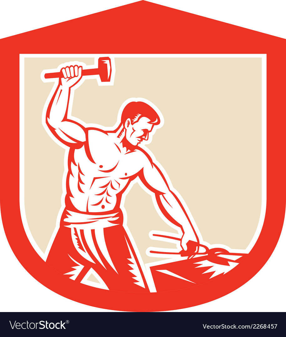 Blacksmith worker striking sledgehammer anvil vector | Price: 1 Credit (USD $1)