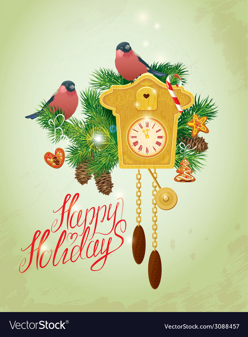 Card with vintage wooden cuckoo clock xmas gingerb vector | Price: 1 Credit (USD $1)