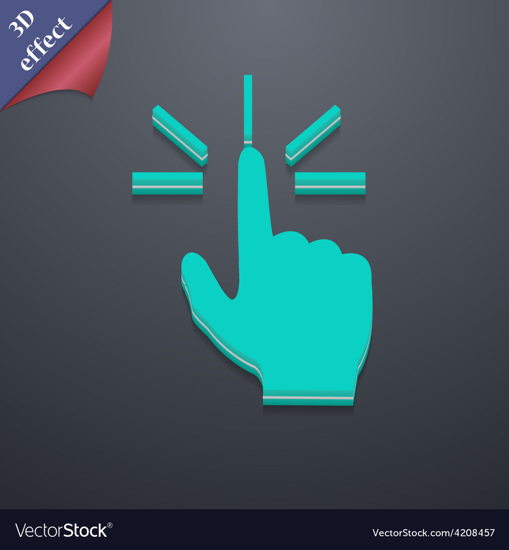 Click here hand icon symbol 3d style trendy modern vector | Price: 1 Credit (USD $1)
