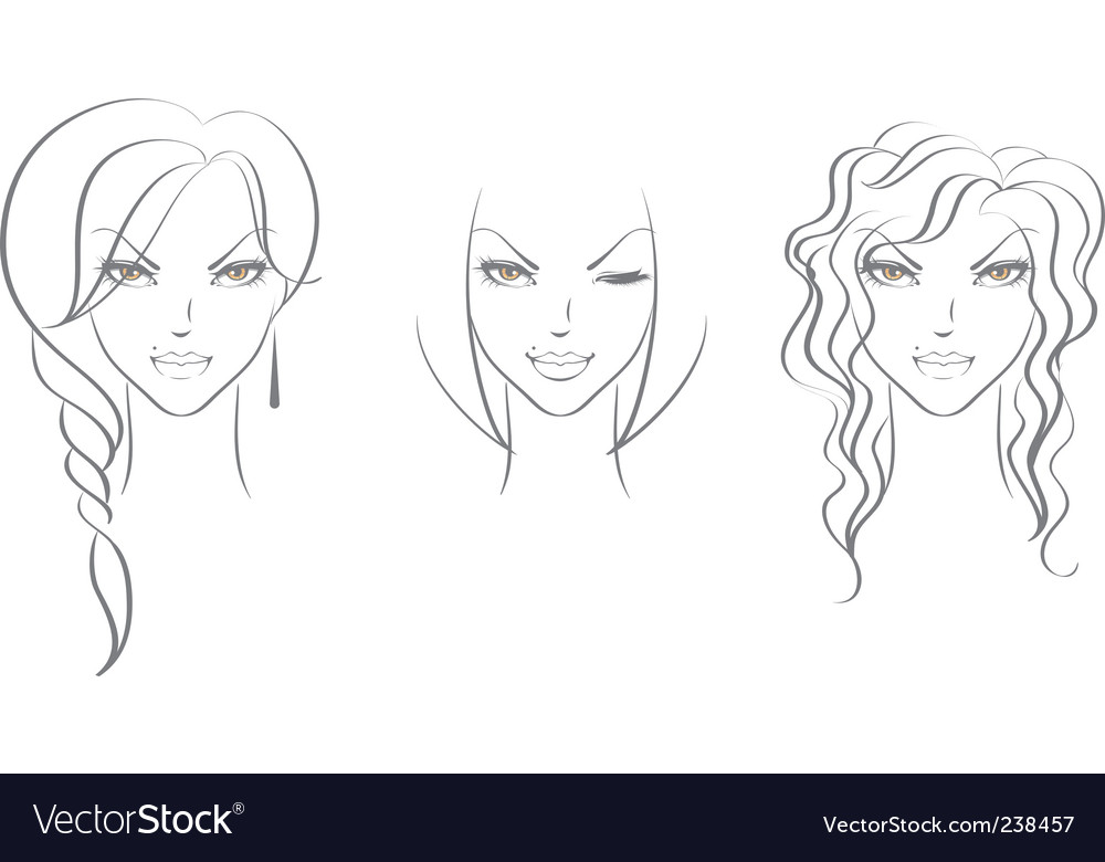 Faces women's vector | Price: 1 Credit (USD $1)
