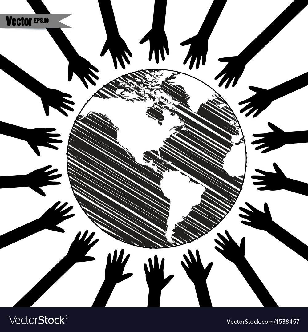 Hands take care of cultural earth vector | Price: 1 Credit (USD $1)