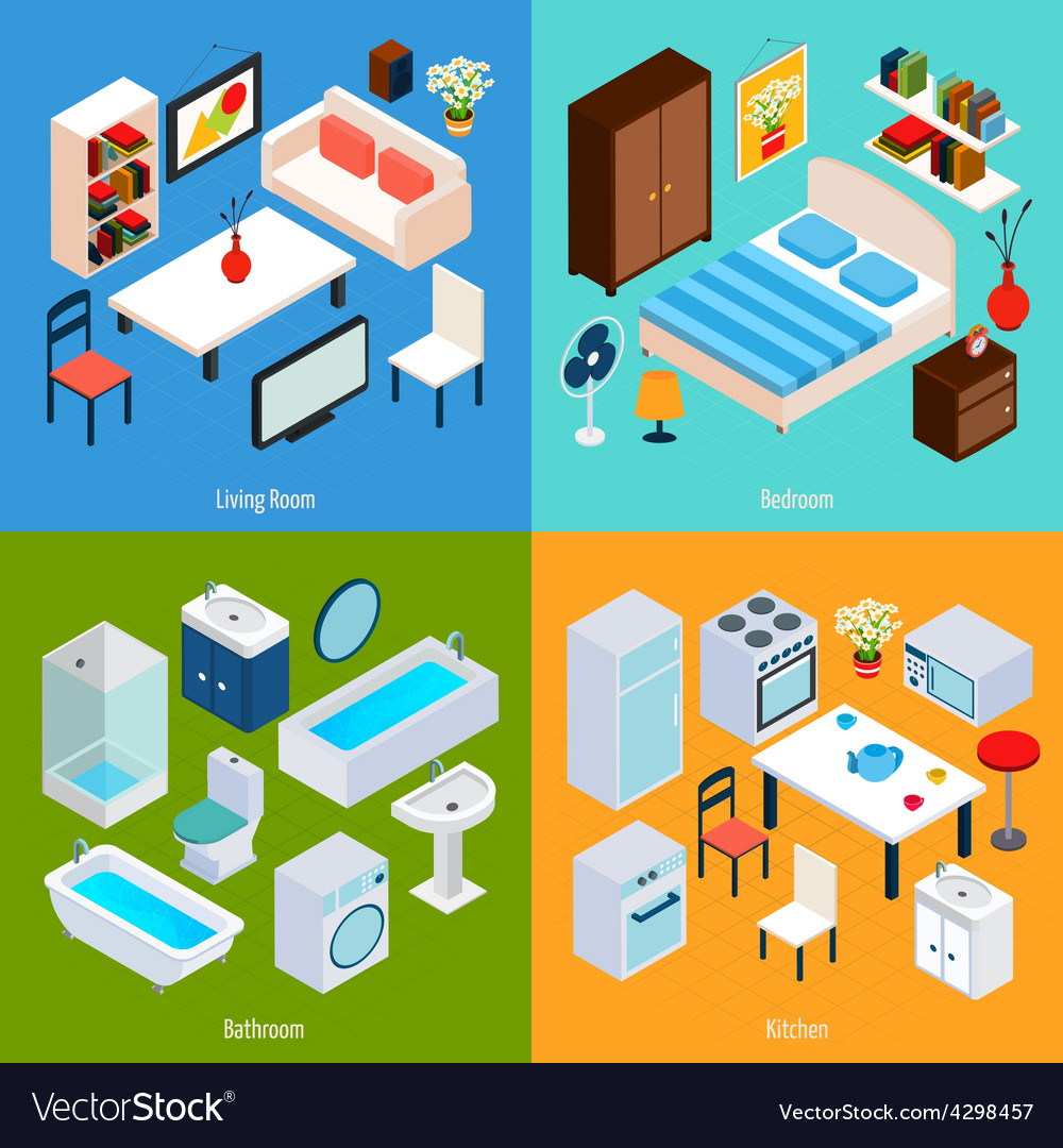 Isometric interior set vector | Price: 1 Credit (USD $1)