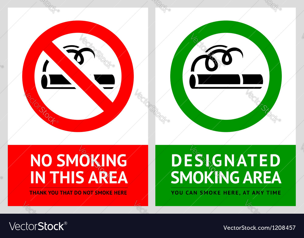 No smoking and smoking area labels - set 11 vector | Price: 1 Credit (USD $1)
