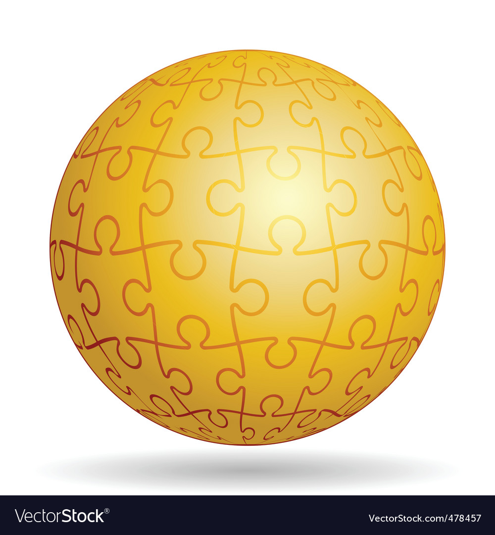 Puzzle golden ball vector | Price: 1 Credit (USD $1)