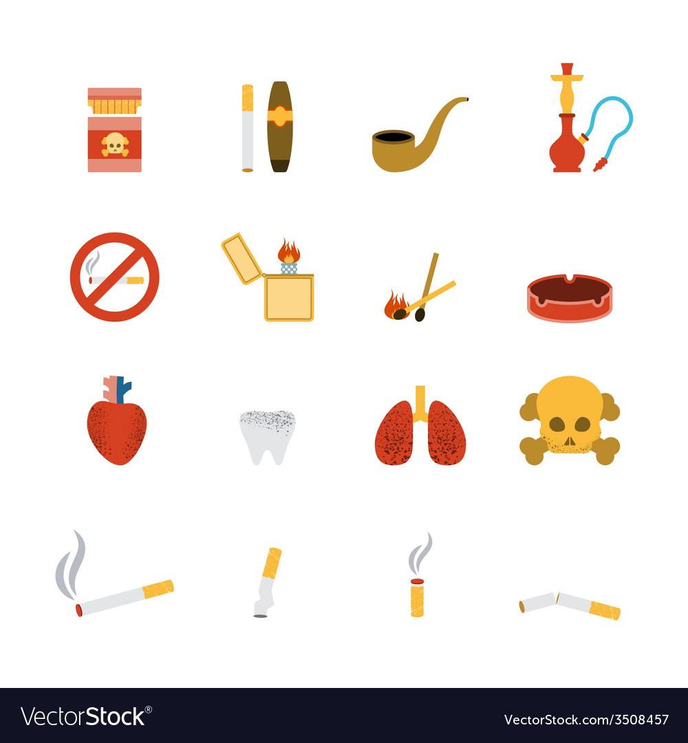 Smoking icon flat set vector | Price: 1 Credit (USD $1)