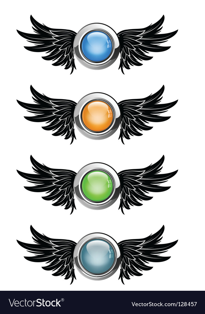 Winged round buttons vector | Price: 1 Credit (USD $1)