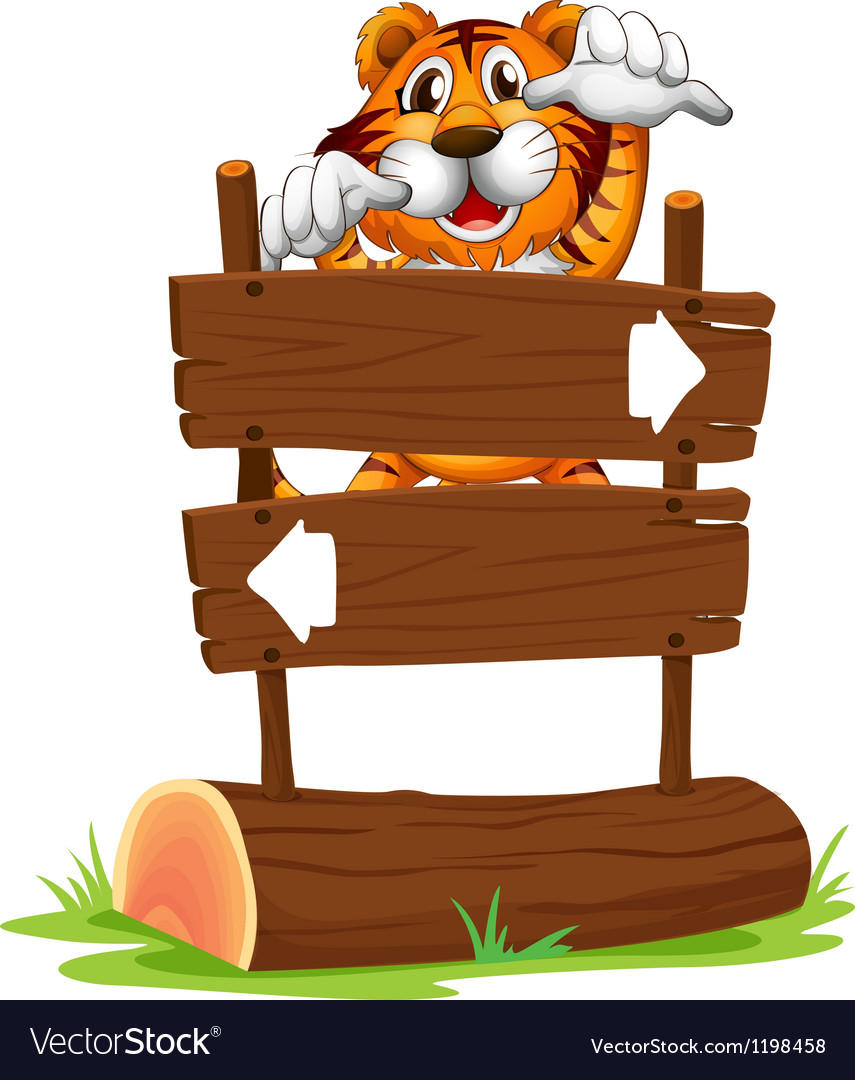 A tiger in a scary mood at the back of a signboard vector | Price: 1 Credit (USD $1)