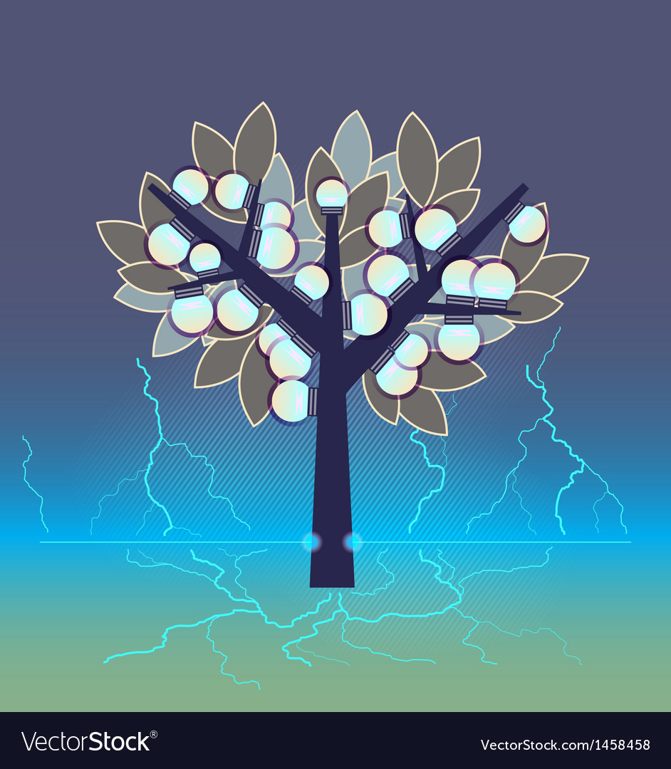 Artificial tree fruiting electrical bulbs plugged vector | Price: 1 Credit (USD $1)